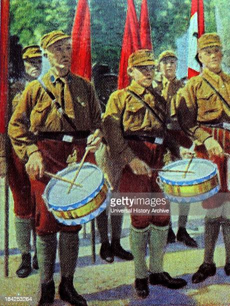 Nazi party drummers at a Rally circa 1932