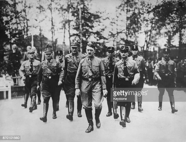 Nazi Party leader Adolf Hitler and Rudolf Hess arrive for a meeting in Berlin Germany 12th October 1931