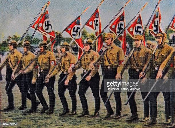 Nazi party members at a rally germany 1932