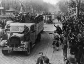 Nazi party members drive through the streets of vienna in celebration picture id104351052?s=170x170