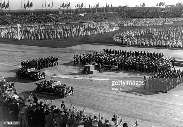 Nazi party rally grounds in Nürnberg Zeppelinwiese In the car Adolf Hitler September 1938 Photograph Reichsparteitagsgelände Nürnberg Zeppelinwiese...
