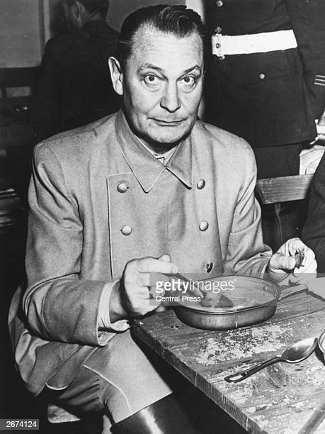 Nazi politico-military leader Hermann Goering having a meal at the courthouse at Nuremberg.