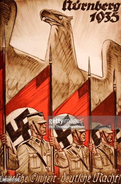 A Nazi propaganda postcard featuring German soldiers flags with swastikas the German imperial eagle the motto German Unity German Might Nuremberg...