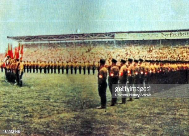 Nazi rally at Dresden football stadium circa 1930
