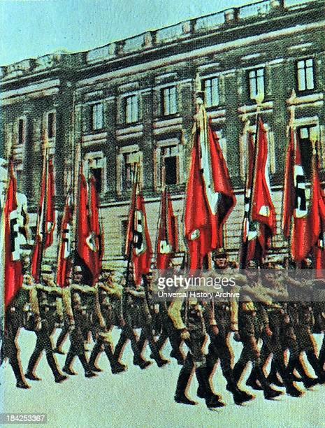 Nazi Rally through the centre of Brunswick Germany 1932