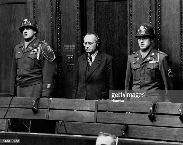 Nazi Reich Justice Minister at the Nuremberg Trial listens to translation of the proceedings over headphones The Nuremberg Trials lasted from...