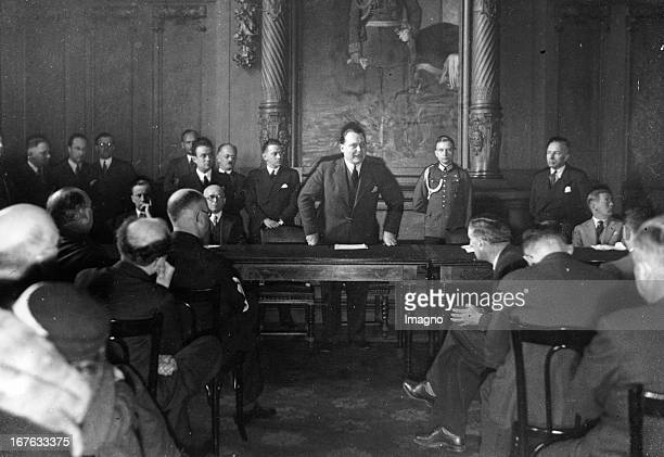 Nazi Reich Minister Hermann Goering speaks to the representatives of the foreign press. Germany. Photography. . NS-Reichsminister Hermann Göring bei...