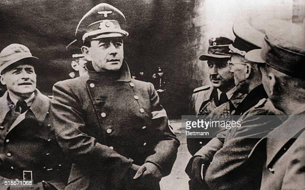 Nazi Reichminster Albert Speer OT Chief in Charge of War Production wears a skeptical look as he gazes at a portion of the Atlantic wall which is...