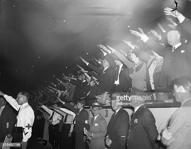 Nazi Salute at Garden Protest Meeting The Nazi salute is given with the proper snap by these Nazi sympathizers who gathered at Madison Square Garden...