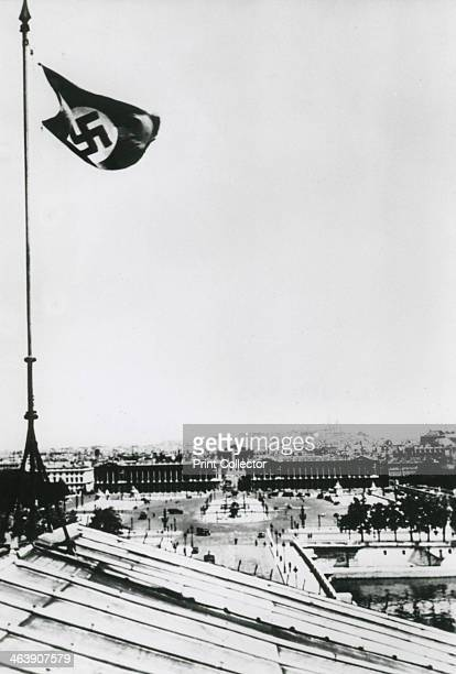Nazi swastika flying over the occupied city of Paris June 1940