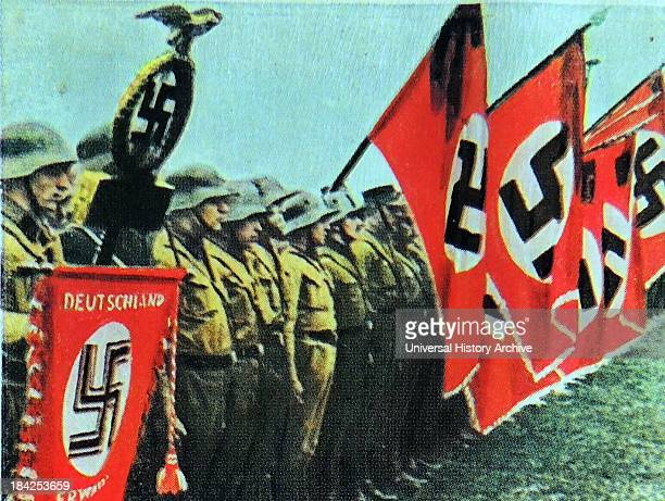 Nazi uniformed members from the Rhineland with flags Germany circa 1931
