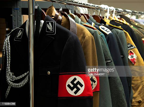 Nazi uniforms on display at Connecticutbased Alexander Autographs on July 19 2011 in Stamford Connecticut The uniforms will be sold separately from...