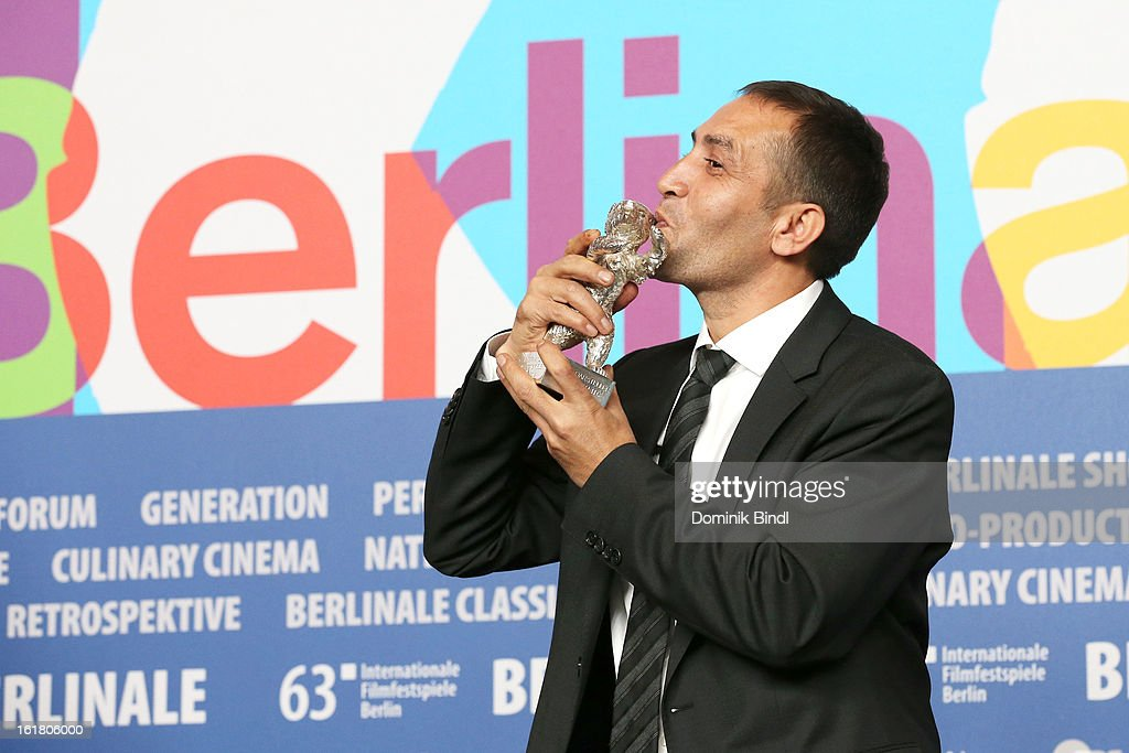 Nazif Mujic with his Silver Bear for the best actor award at the Award Winners Press Conference during the 63rd Berlinale International Film Festival at Grand Hyatt Hotel on February 14, 2013 in Berlin, Germany.