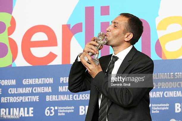 Nazif Mujic with his Silver Bear for the best actor award at the Award Winners Press Conference during the 63rd Berlinale International Film Festival...