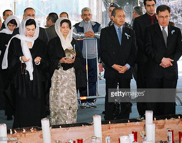 Nazik Hariri widow of assassinated Lebanese expremier Rafiq Hariri former Malaysian Prime Minister Mahatir Mohammad and his wife and former Lebanese...