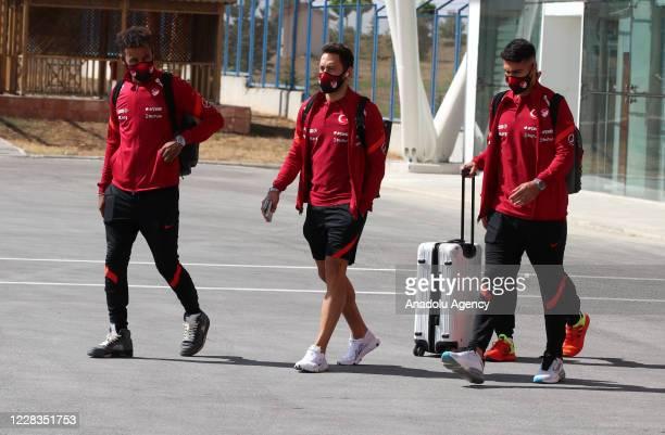 Nazim Sangare and Hakan Calhanoglu of Turkey are seen as Turkey National Football Team departs to Belgrade in Sivas, Turkey on September 05, 2020...