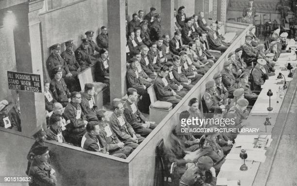 Nazis accused during the Belsen trial in Lueneburg Germany from L'Illustrazione Italiana New Series No 11 September 30 1945