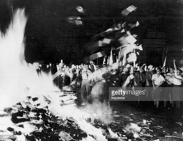 Nazis and students burn books on a huge bonfire of 'antiGerman' literature in the Opernplatz Berlin
