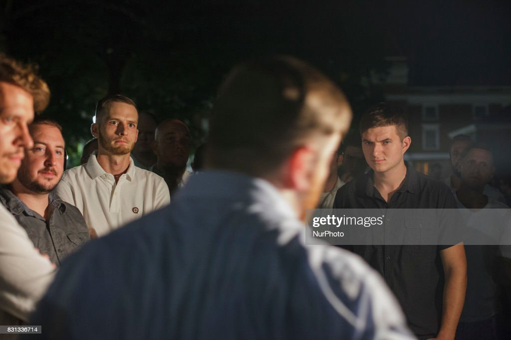 Nazis being given marching orders through the University of Virginia campus with torches in Charlottesville, Va., USA on August 11, 2017.