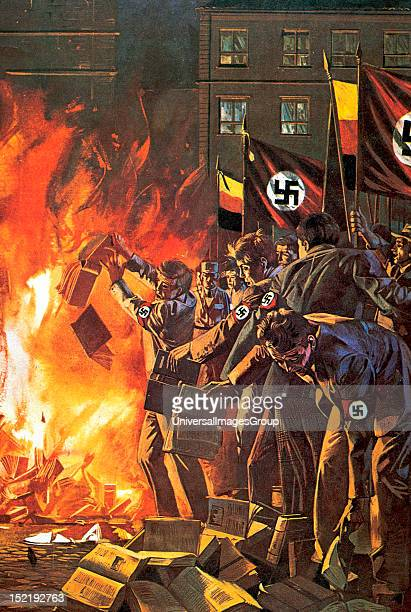 Nazism Burning of books unrelated with the regime Drawing