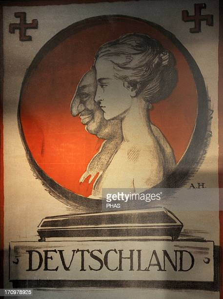 Nazism Germany 20th century Poster antiSemitic of the Nazi Party 1920 Original at the Deutsches Historisches Museum in Berlin Jewish Museum Berlin...