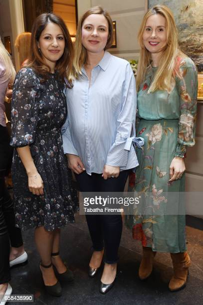 Nazli Arad Alice Edwards and Coralie Rogez attend the Bonpoint Mon Premier Diamant luncheon at The Connaught Hotel on March 27 2017 in London England
