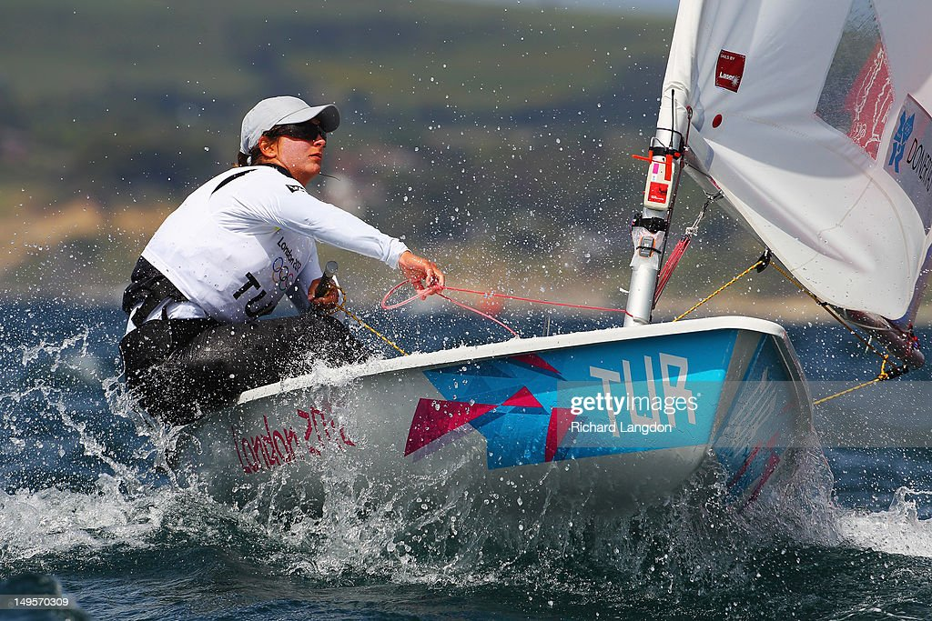 Nazli Cagla Donertas of Turkey competes in the Laser Radial Women's Sailing on Day 3 of the London 2012 Olympic Games at Weymouth Harbour on July 30, 2012 in Weymouth, England.