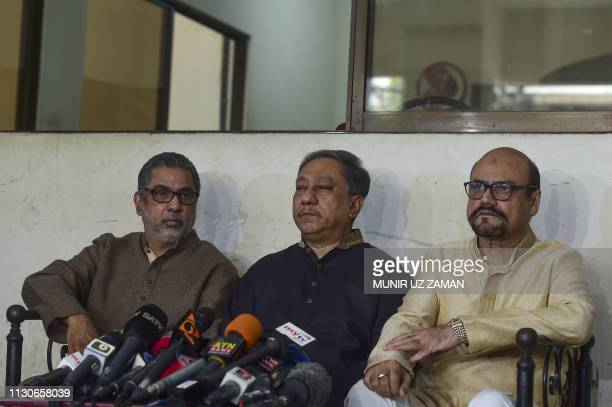 Nazmul Hassan Papon president of Bangladesh Cricket Board and a member of parliament speaks during a press conference in Dhaka on March 15 2019...