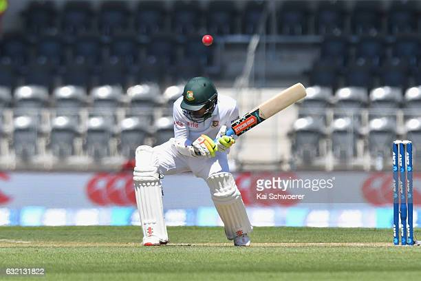 Nazmul Hossain Shanto of Bangladesh ducks under a bouncer during day one of the Second Test match between New Zealand and Bangladesh at Hagley Oval...