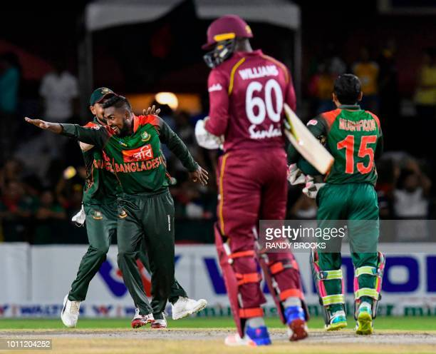 Nazmul Islam of Bangladesh celebrates winning the 2nd T20i match against West Indies at Central Broward Regional Park Stadium in Fort Lauderdale...