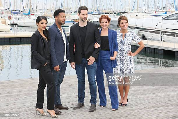 Nazneen Contractor Brandon Jay MacLaren Luke Roberts Emma De Caunes and Sarah Greeene attend Photocall for Ransom as part of MIPCOM at Palais des...
