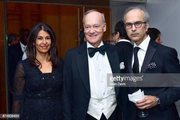 Naznin Khimji Prince Amyn Aga Khan and Mahmood Khimji attend The Aga Khan Foundation Gala at The Metropolitan Museum of Art on November 15 2017 in...