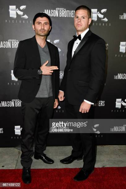 """Nazo Bravo and Keith Sutliff attend the premiere of """"The Mason Brothers"""" at the Egyptian Theatre on April 11, 2017 in Hollywood, California."""
