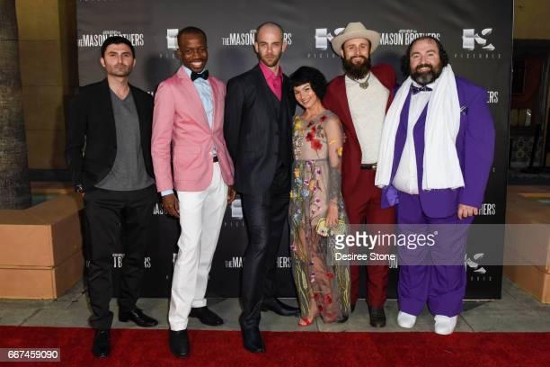 "Nazo Bravo, Errol Webber, Brandon Sean Pearson, Julia Fae, Matt Webb and Steve Bethers attend the premiere of ""The Mason Brothers"" at the Egyptian..."