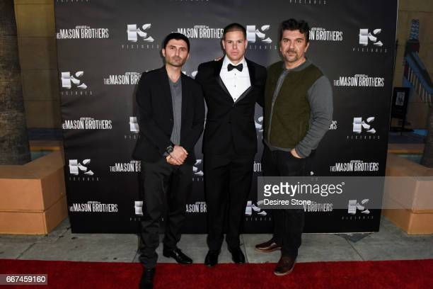 """Nazo Bravo, Keith Sutliff, and Stephen C. Sepher attend the premiere of """"The Mason Brothers"""" at the Egyptian Theatre on April 11, 2017 in Hollywood,..."""