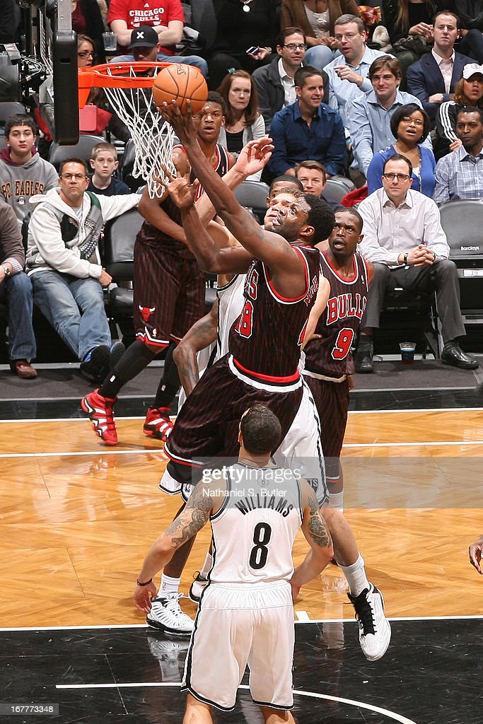 Nazr Mohammed #48 of the Chicago Bulls shoots a layup against the Brooklyn Nets on April 4, 2013 at the Barclays Center in the Brooklyn borough of New York City.
