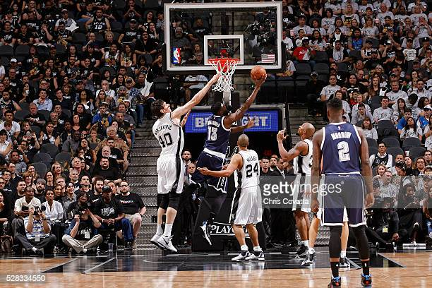 Nazr Mohammed of the Oklahoma City Thunder shoots the ball against Boban Marjanovic of the San Antonio Spurs in Game One of the Western Conference...