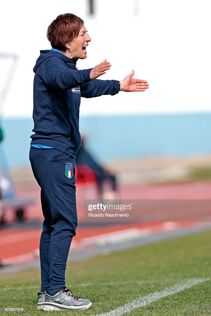 Nazzarena Grilli, Head Coach of U16 Girls Italy gestures during UEFA Development Tournament match between U16 Girls Germany and U16 Girls Italy at VRSA Stadium on February 19, 2018 in Vila Real de Santo Antonio, Portugal.