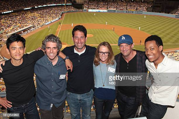 NBCUniversal Events Matthew Perry of 'Go On' Throws Out First Pitch at The Dodgers VS Padres Game Pictured John Cho Scott Silveri Executive Producer...