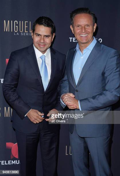 NBCUniversal executive Cesar Conde and producer Mark Burnett attend the screening of Telemundo's 'Luis Miguel La Serie' at a Private Residence on...