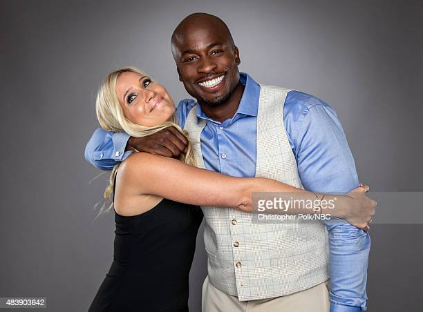 EVENTS NBCUniversal Portrait Studio August 2015 Pictured TV personalities Akbar Gbajabiamila and Kristine Leahy from 'American Ninja Warrior' pose...