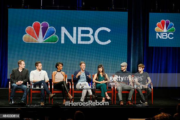 EVENTS NBCUniversal Press Tour August 2015 NBC's Heroes Reborn Session Pictured Jack Coleman Zachary Levi Judi Shekoni Tim Kring Executive Producer...