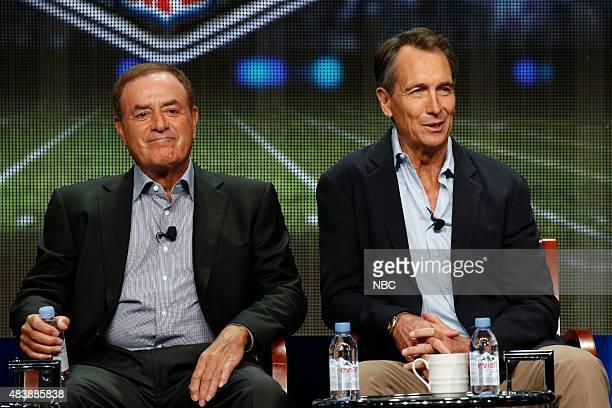 EVENTS NBCUniversal Press Tour August 2015 NBC's Sunday Night Football Session Pictured Al Michaels PlaybyPlay Announcer Cris Collinsworth Analyst