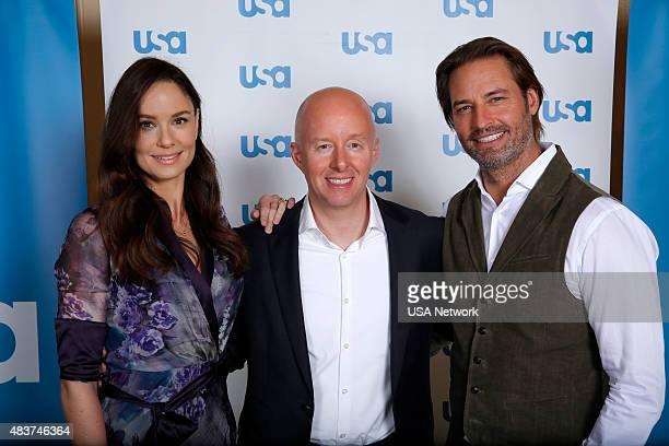 EVENTS NBCUniversal Press Tour August 2015 USA 'Colony' Pictured Sarah Wayne Callies Star Chris McCumber President USA Network Josh Holloway Star