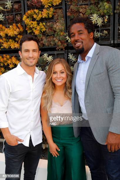 EVENTS NBCUniversal Press Tour August 2017 CNBC Cocktail Reception Pictured Jeremy Bloom Shawn Johnson East Dhani Jones