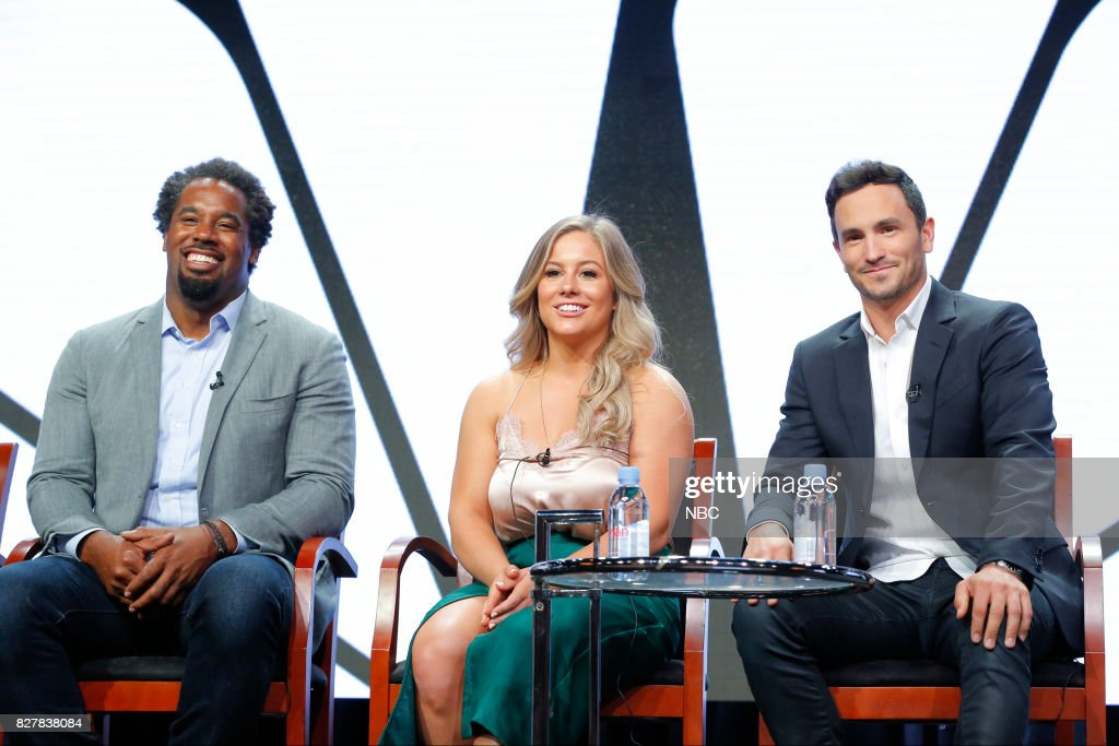 EVENTS -- NBCUniversal Press Tour, August 2017 -- CNBC's 'Adventure Capitalists' Session -- Pictured: (l-r) Dhani Jones, Talent / Investor; Shawn Johnson East, Talent / Investor; Jeremy Bloom, Talent / Investor --