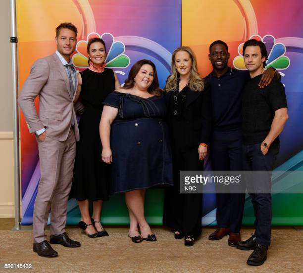 EVENTS NBCUniversal Press Tour August 2017 'This Is Us' cast Pictured Justin Hartley Mandy Moore Chrissy Metz Jennifer Salke President NBC...