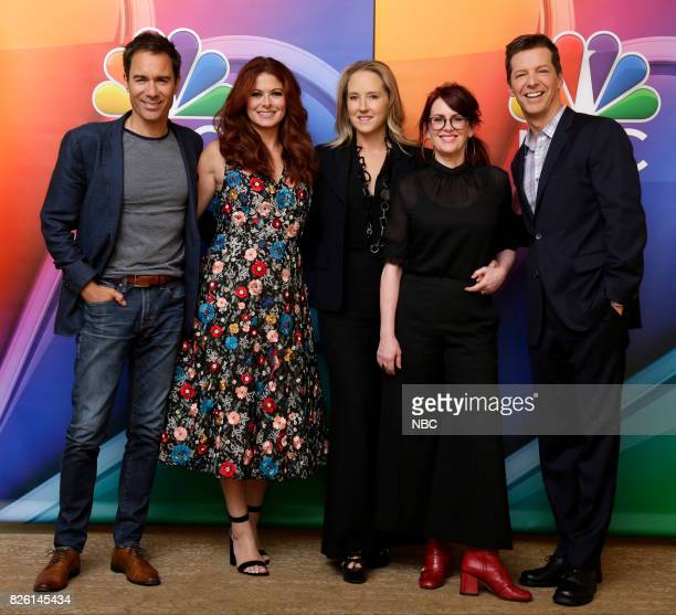 EVENTS NBCUniversal Press Tour August 2017 'Will Grace' cast Pictured Eric McCormack Debra Messing Jennifer Salke President NBC Entertainment Megan...