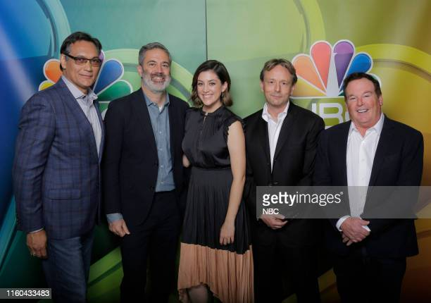 EVENTS NBCUniversal Press Tour August 2019 NBC's Bluff City Law Pictured Jimmy Smits Michael Aguilar Executive Producer Caitlin McGee Dean Georgaris...