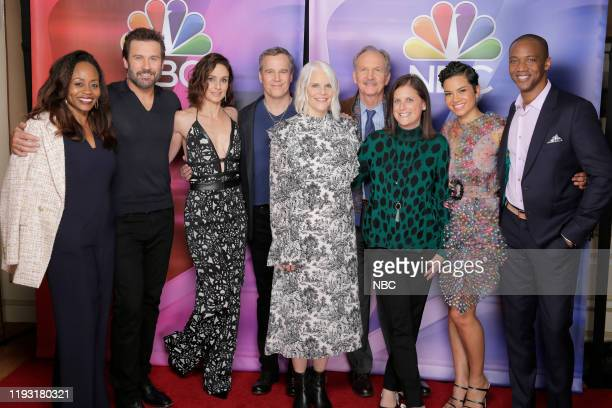 EVENTS NBCUniversal Press Tour January 11 2020 Pictured NBC' s Council of Dads cast Pearlena Igbokwe President Universal Television Clive Standen...